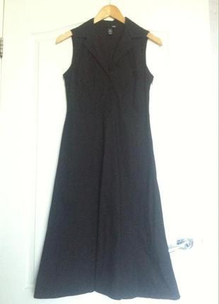 Чёрное платье миди от h&m