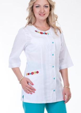 Костюм медицинский с вышивкой, батист, р. 40-60; женская медицинская одежда, 892263
