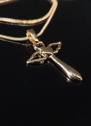 "Набор ""ангел"". цепочка + кулон, кулончик xuping, позолота 585 проба, 18к. бижутерия"