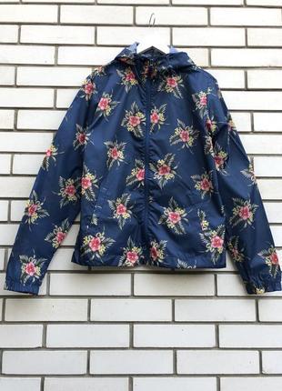 Куртка,ветровка,дождевик,плащ,парка с капюшоном,синяя в цветочный принт cedarwood state