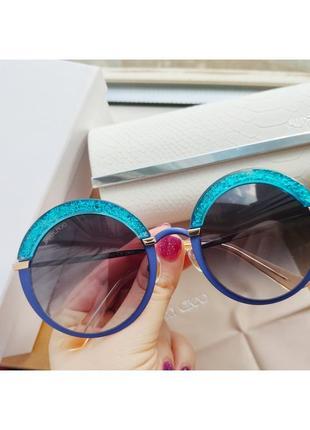 Красивые солнцезащитные круглые очки jimmy choo  goth/s 3ue/js
