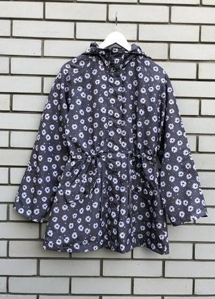 Легкая куртка с капюшоном,ветровка,дождевик-реглан,парка в цветочный принт