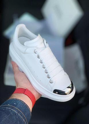 Кожаные женские кроссовки alexander mcqueen в белом цвете (36-40)😍