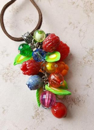 Кулон ягоды яркий красивый ручная работа ягодный малина кулончик колье смородина