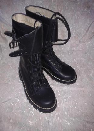 Кожаные сапоги-ботинки из италии!качество-супер!