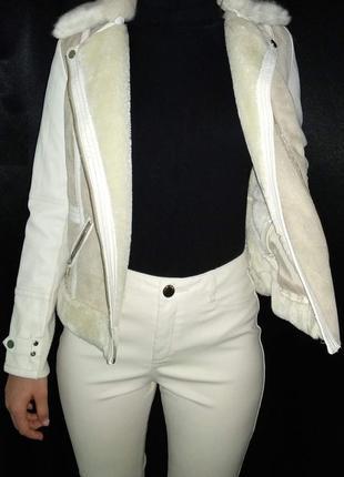 Косуха river island деми мех эко кожа курточка теплая дубленка штаны