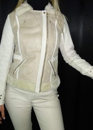 Косуха river island деми мех эко кожа курточка теплая дубленка штаны4 фото