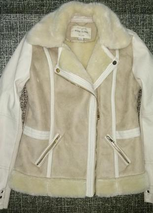 Косуха river island деми мех эко кожа курточка теплая дубленка штаны6 фото