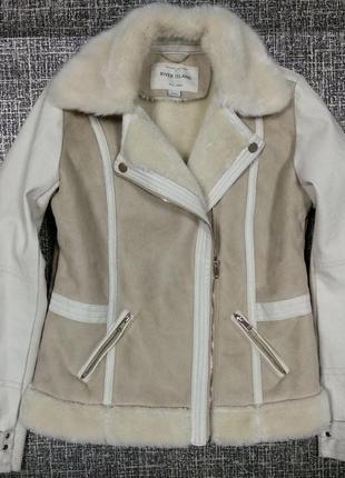 Косуха river island деми мех эко кожа курточка теплая дубленка штаны7 фото
