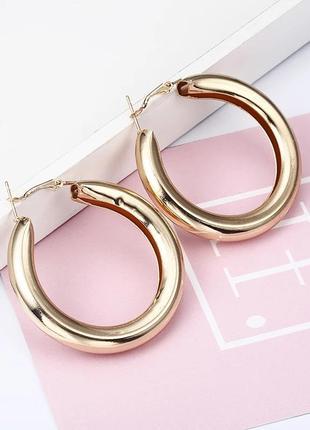 Массивные серьги кольца, сережки круглые