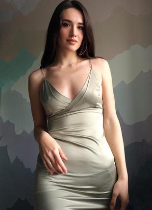 Платье хаки/ мини / вечернее/ шелковое