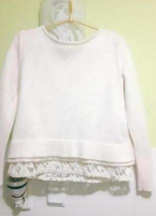 Кофточка свитер с кружевом в составе шерсть ангора  mint velvet