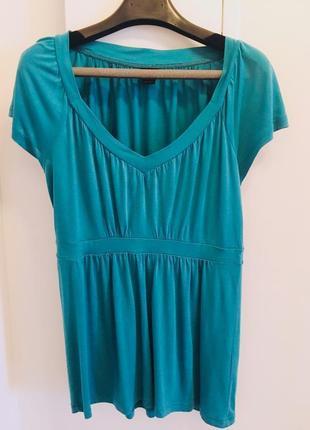 Классная цвета морской волны натруальная футболка блуза бренда esprit collection