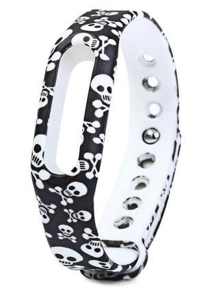 Cиликоновый ремешок (браслет) для спортивных часов xiaomi mi 1 черепа