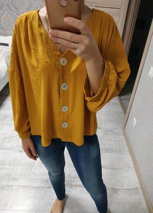 Шикарная актуальная блуза желтая горчичная батл