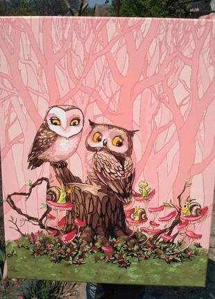 """Картина """"влюбленные совы"""""""