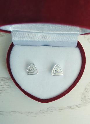 Серебряные серьги треугольные спирали, серёжки, сережки, серебро, срібні кульчики, срібло