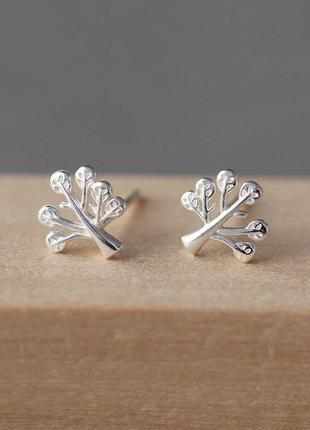 Серебряные серьги деревья, серёжки, сережки, серебро, срібні кульчики, срібло