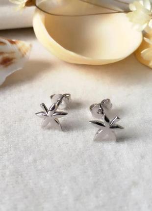 Серебряные серьги листья, серёжки, сережки, серебро, срібні кульчики, срібло