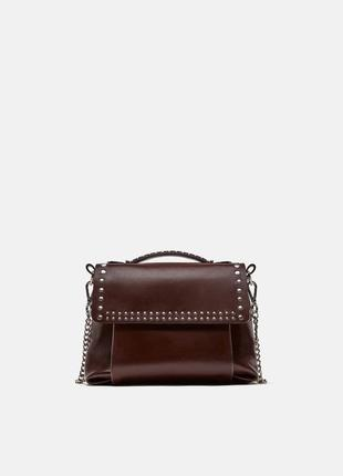 Кожаная сумка через плечо zara.