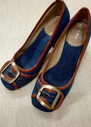 Джинсовые туфли на устойчивом каблуке