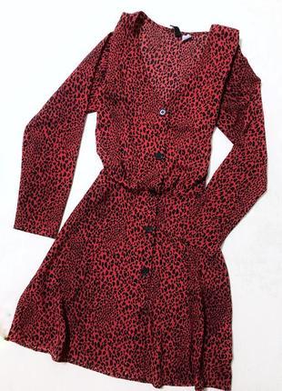 Сукня/плаття/платья/миди/леопардовий принт/гудзики/запах/довгий рукав/купити/дешево