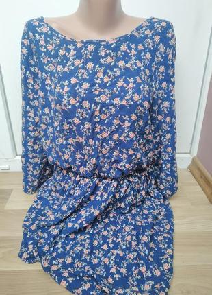 Платье елекрик,хлопок актуальные цветы,с вырезом на спинке,ризинка на талии
