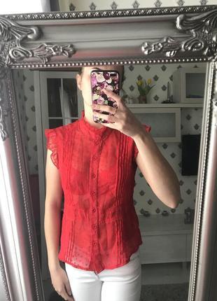 Красная блуза короткий рукав
