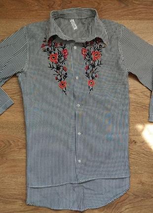 Вышитая рубашка в полоску