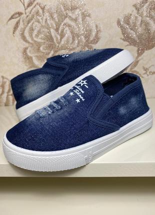 Легкая детская обувь кроссовки мокасины джинс
