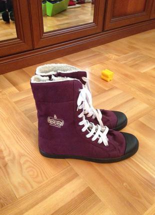 Демисезонные фиолетовые теплые высокие кеды сапоги ботинки