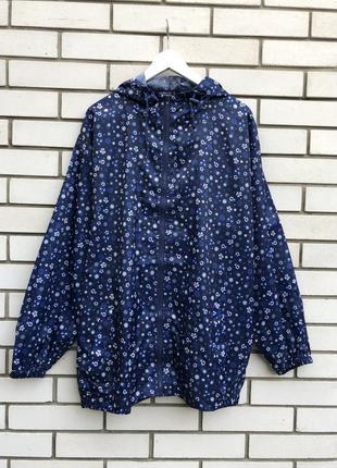 Куртка,ветровка,дождевик,плащ,парка с капюшоном,синяя в цветочный принт,большой размер