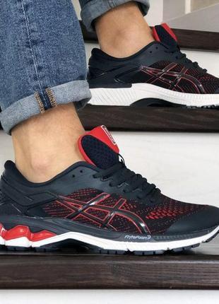 Кросівки asics темно сині з червоним