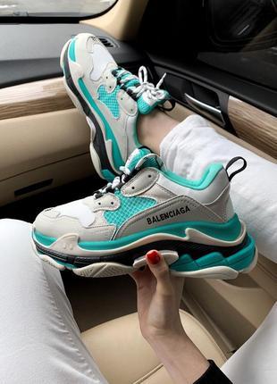 Кроссовки balenciaga triple s white/grey/turquoise кросівки