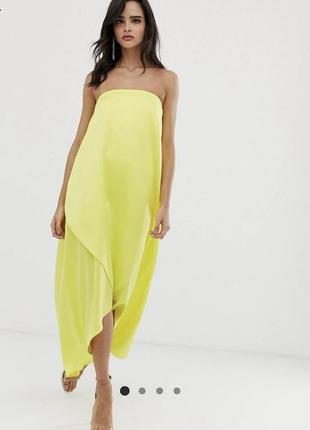 Шикарное сатиновое миди платье без шлеек