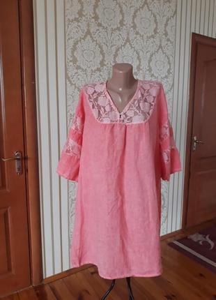 Очень нежная 100% льон итальянкое  красивенное туника платье