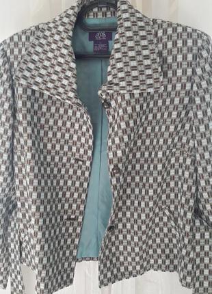 Пиджак жакет от jds клетка  тиффани микс цветов3 фото