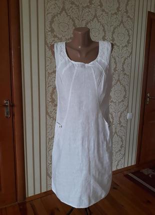 100% льон итальянское белоснежное платье бохо с карманами