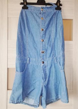 Стильный летний джинсовый комбинезон