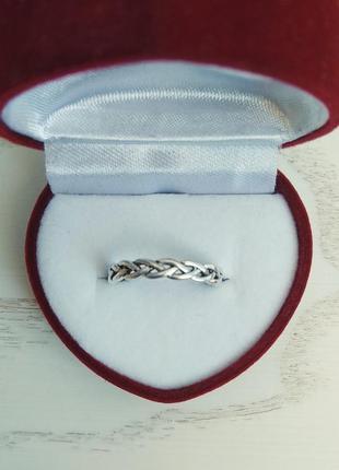 Серебряное кольцо косичка, серебро, срібна каблучка, срібний перстень, срібне, срібло