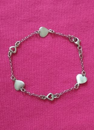 Серебряный браслет с сердечками, серебро, срібний, срібло