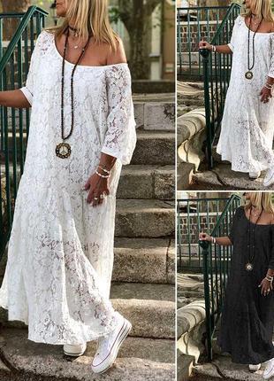 Zanzea кружевное винтажное платье свободное макси в стиле бохо от с до 5 хл1 фото