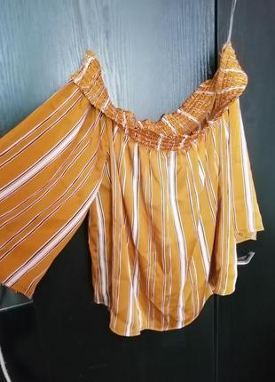 Блуза на плечи в полоску горчичная