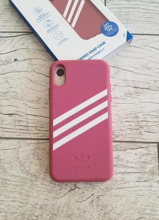 Противоударный, защитный чехол adidas 3-stripes snap gazelle maroon для iphone xr