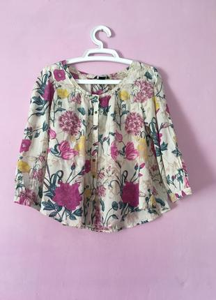 Шикарная блуза цветочный принт с гортензиями хлопок