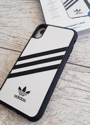 Противоударный, защитный чехол adidas 3-stripes snap moulded white для iphone xr