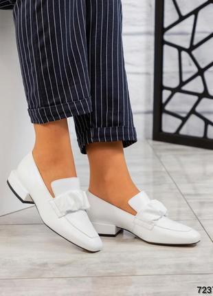 Элитные белые туфли лоферы