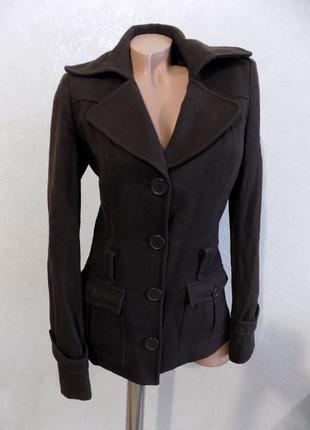 Пальто шерстяное коричневое на пуговицах фирменное vero moda размер s