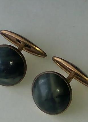 Запонки ссср  с натуральным камнем.клеймо ( рс 2м )