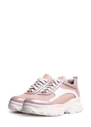 Кожаные стильные розовые пудровые кроссовки перфорация натуральная кожа